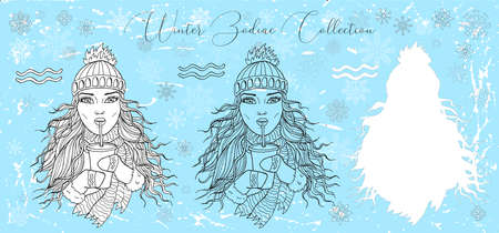 Doodle set with Aquarius zodiac symbol. Girl drinking coffee from cup using plastic tube against snowy background. Vector hand drawn winter illustration, line art design element, banner