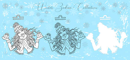 Doodle set with Libra zodiac symbol. Girl holding gift boxes against snowy background. Vector hand drawn winter illustration, line art design element, esoteric and mystic background Çizim
