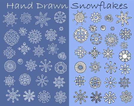Set with hand drawn line art white snowflakes. Vector doodle illustration, winter seasonal drawing and design element for greeting cards, Christmas and Happy New Year banner, invitations Çizim