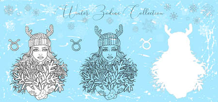 Doodle set with taurus zodiac symbol. Girl with bunch of evergreen conifer against snowy background. Vector hand drawn winter illustration, line art design element, esoteric and mystic background