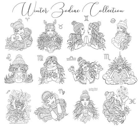 Set with zodiac symbols as girls in winter warm clothes isolated on white background.  Vector hand drawn illustrations, line art design element for cards, banner, esoteric and mystic background