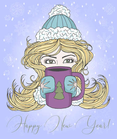 Christmas and New Year greeting card with happy girl holding mug with conifer symbol. Vector hand drawn doodle illustration, seasonal background, design element for banners, invitations Ilustracja