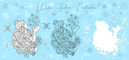 Doodle set with Pisces zodiac symbol. Girl kissing the air against snowy background. Vector hand drawn winter illustration, line art design element for greeting cards, banner, esoteric and mystic background Ilustracja