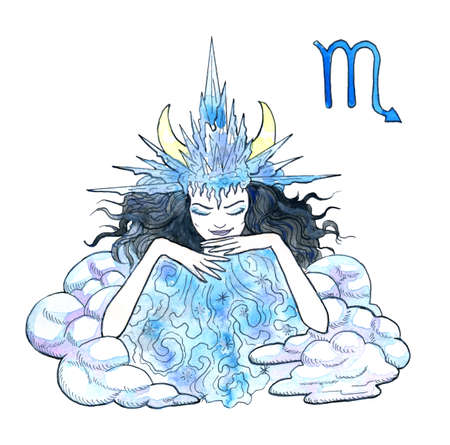 Scorpio or Scorpion zodiac symbol. Beautiful girl wearing ice crown with clouds as storm queen isolated on white. Hand drawn winter watercolor illustration, esoteric and mystic drawing for horoscope Zdjęcie Seryjne