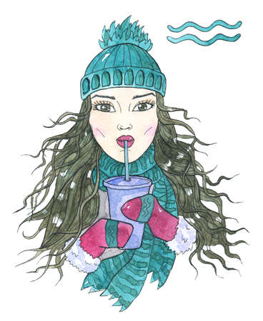 Aquarius zodiac symbol. Girl drinking coffee from paper cup using plastic tube isolated on white. Hand drawn winter watercolor illustration, esoteric and mystic drawing for horoscope Zdjęcie Seryjne