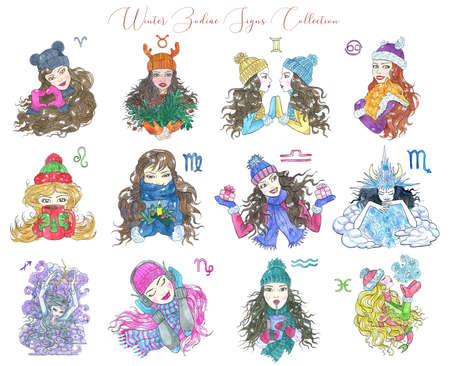 Set with twelve colorful zodiac symbols as girls in warm clothes, mittens and scarf, isolated on white background. Hand drawn winter watercolor illustration, esoteric and mystic drawing for horoscope