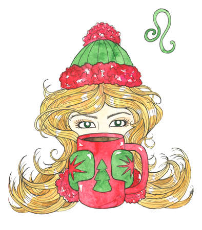 Lion or Leo zodiac symbol. Beautiful girl with blond hair holding mug with conifer symbol isolated on white. Hand drawn winter watercolor illustration, esoteric and mystic drawing for horoscope Zdjęcie Seryjne - 157517002