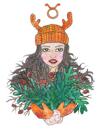 Taurus zodiac symbol. Girl with bunch of evergreen conifer and berries isolated on white. Hand drawn winter watercolor illustration, esoteric and mystic drawing for horoscope