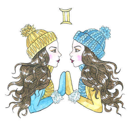 Gemini zodiac symbol. Two beautiful twin girls wearing winter hat, scarf and mittens isolated on white. Hand drawn winter watercolor illustration, esoteric and mystic drawing for horoscope