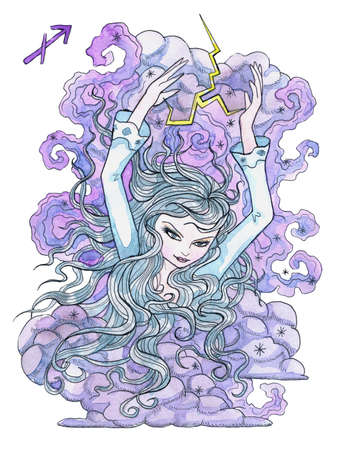 Sagittarius zodiac symbol. Beautiful girl with long hair, storm clouds and lightning as arrow isolated on white. Hand drawn winter watercolor illustration, esoteric and mystic drawing for horoscope