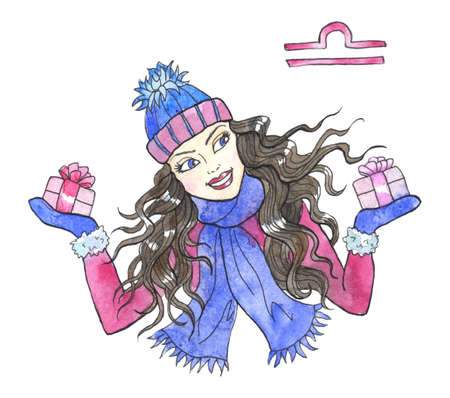 Libra zodiac symbol. Beautiful girl wearing scarf and hat holding gift boxes with bow isolated on white. Hand drawn winter watercolor illustration, esoteric and mystic drawing for horoscope Zdjęcie Seryjne