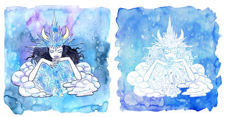 Scorpion zodiac symbol. Girl wearing ice crown as winter queen against painted blue background with snow. Hand drawn winter watercolor illustration, esoteric and mystic drawing for horoscope Reklamní fotografie - 158003483