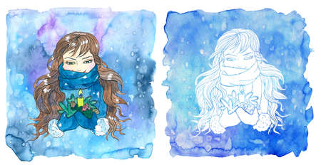 Virgo zodiac symbol. Girl holding candle and conifer branches against painted blue background with snow. Hand drawn winter watercolor illustration, esoteric and mystic drawing for horoscope