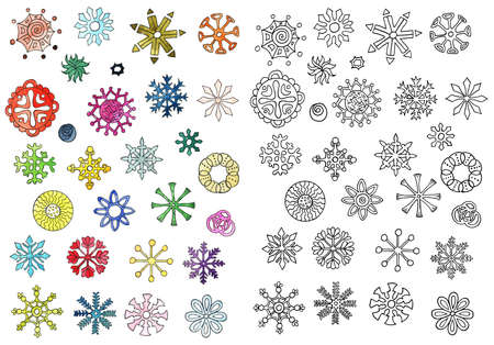 Set with hand drawn colorful snowflakes isolated on white. Doodle illustration, winter seasonal drawing and design element for greeting cards, Christmas and Happy New Year banner, invitations Zdjęcie Seryjne