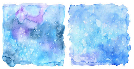 Abstract winter design background with texture and snow. Hand painted blue watercolor drawing as template for Christmas and new year cards, invitations, banner.