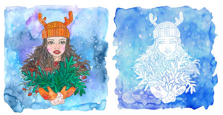 Taurus zodiac symbol. Girl with bunch of evergreen conifer and berries  against painted blue background with snow. Hand drawn winter watercolor illustration, esoteric and mystic drawing for horoscope