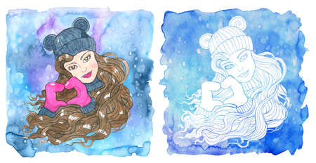 Aries zodiac symbol. Beautiful girl wearing mittens showing heart sign against painted blue background with snow. Hand drawn winter watercolor illustration, esoteric and mystic drawing for horoscope