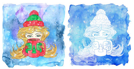 Lion zodiac symbol. Beautiful girl holding mug with conifer symbol against painted blue background with snow. Hand drawn winter watercolor illustration, esoteric and mystic drawing for horoscope