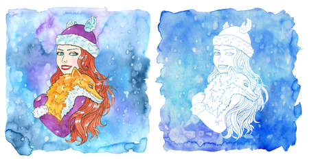 Cancer zodiac symbol. Beautiful girl with red hair holding cute fox against painted blue background with snow. Hand drawn winter watercolor illustration, esoteric and mystic drawing for horoscope Reklamní fotografie - 158003488
