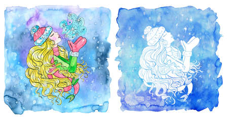 Pisces zodiac symbol. Beautiful girl kissing the frost air against painted blue background. Hand drawn winter watercolor illustration, esoteric and mystic drawing for horoscope