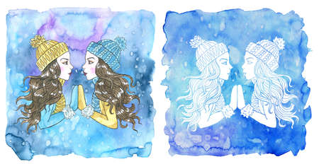 Gemini zodiac symbol. Two beautiful girls wearing winter hat, scarf and mittens against painted blue background with snow. Hand drawn winter watercolor illustration, mystic drawing for horoscope