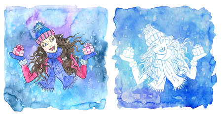 Libra zodiac symbol. Girl wearing scarf and hat holding gift boxes with bow against painted blue background. Hand drawn winter watercolor illustration, esoteric and mystic drawing for horoscope Reklamní fotografie