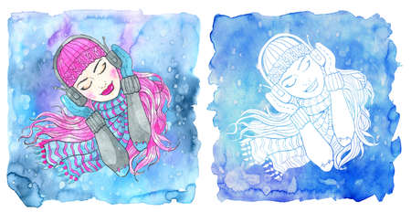 Capricorn zodiac symbol. Girl with closed eyes listening to music in headphones  against  blue background. Hand drawn winter watercolor illustration, esoteric and mystic drawing for horoscope