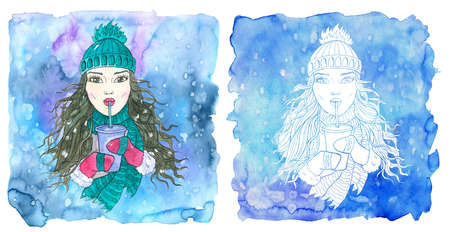 Aquarius zodiac symbol. Girl drinking coffee from paper cup using plastic tube  against painted blue background. Hand drawn winter watercolor illustration, esoteric and mystic drawing for horoscope