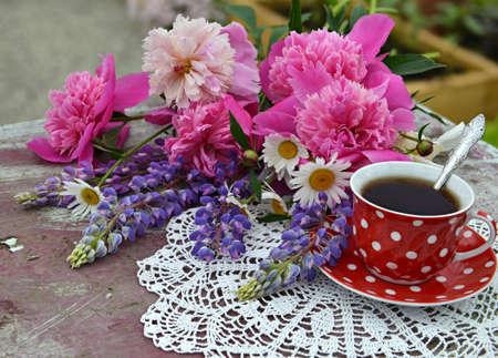 Still life with red cup of tea and beautiful bunch of peony and lupin flowers. Vintage botanical background with plants, home hobby still life with gardening objects and nature. Zdjęcie Seryjne