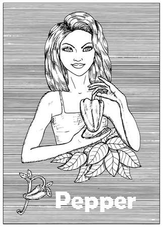 Young beautiful woman holding pepper vegetable over striped background. Hand drawn black and white vector illustration, engraved and vertical, healthy eating, vegan and vegetarian concept.