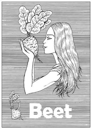 Young beautiful woman holding beet vegetable over striped background. Hand drawn black and white vector illustration, engraved and vertical, healthy eating, vegan and vegetarian concept.