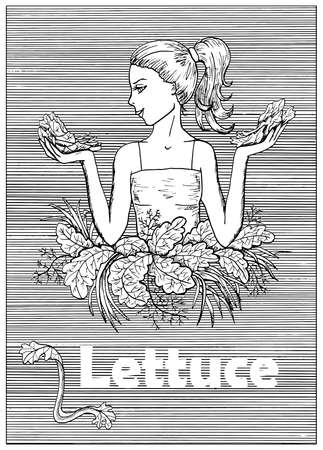Young beautiful woman holding lettuce over striped background. Hand drawn black and white vector illustration, engraved and vertical, healthy eating, vegan and vegetarian concept.