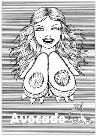 Young beautiful woman holding avocado over striped background. Hand drawn black and white vector illustration, engraved and vertical, healthy eating, vegan and vegetarian concept. Ilustracja