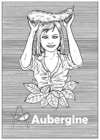 Young beautiful woman holding aubergine vegetable over striped background. Hand drawn black and white vector illustration, engraved and vertical, healthy eating, vegan and vegetarian concept.