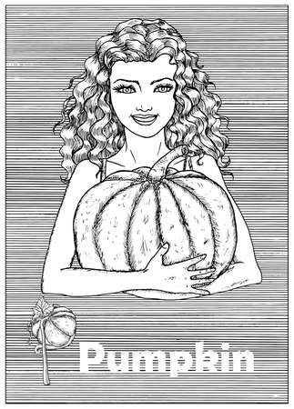 Young beautiful woman holding pumpkin vegetable over striped background. Hand drawn black and white vector illustration, engraved and vertical, healthy eating, vegan and vegetarian concept. Ilustracja