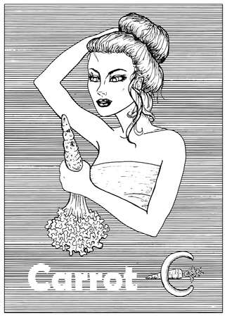 Young beautiful woman holding carrot vegetable over striped background. Hand drawn black and white vector illustration, engraved and vertical, healthy eating, vegan and vegetarian concept.