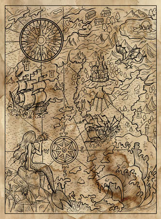 Textured marine illustration of map with mermaid, islans, continent, ship, compass and sea monsters.  Nautical drawing, adventure concept, engraved background 免版税图像