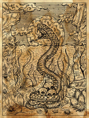 Textured marine illustration with sacry snake, seascape and human skulls against full moon.  Nautical drawing card, adventure concept, engraved background