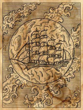 Textured marine illustration with old sailing ship or sailboat against full moon and clouds.  Nautical drawing poster, adventure concept, engraved background 免版税图像
