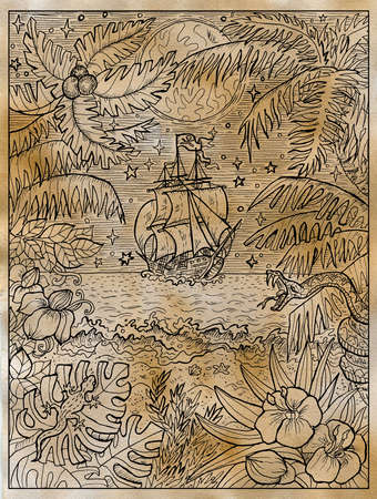 Textured marine illustration with old sailboat and wild nature of treasure island with palms and seashore. Nautical drawing, adventure concept, engraved background