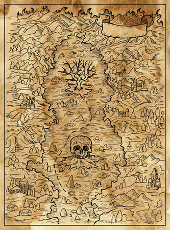 Textured marine illustration with map of treasure island, skull and unknown land. Nautical drawing, adventure concept, engraved background 免版税图像