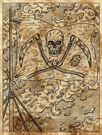 Textured marine illustration with the Jolly Rodger pirate flag with skull and scythe hanging on ship mast.  Nautical drawing card, adventure concept, engraved background