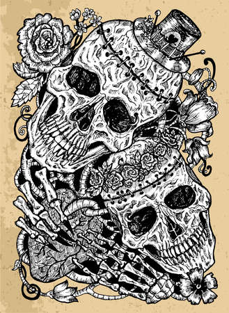 Grunge illustration with two skulls of lovers holding heart, decorated with flowers. Mystic background for Halloween, esoteric, gothic, heavy metal or occult concept, tattoo sketch Reklamní fotografie - 166721260