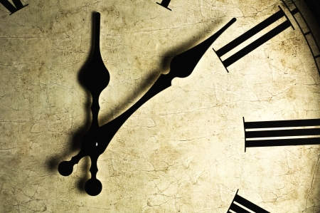 clock: Close up of an old-fashioned wall clock. Studio work. Stock Photo