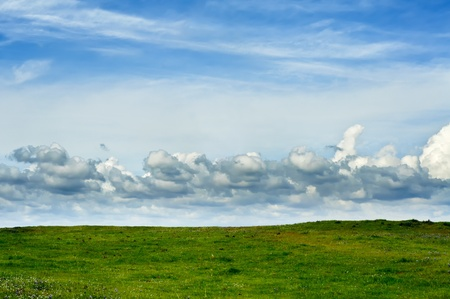 Green Field With Blue Sky and Clouds Stock Photo - 9409902