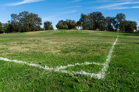 green empty football field in public park Stock Photo - 9409903