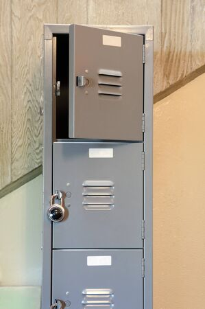 Grey ocker room doors with a lock Stock Photo - 9645468