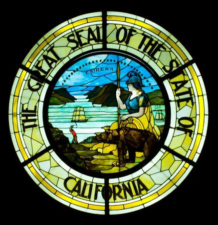 california state: Isolated on black Great Seal  of the State of California inside Capitol Building which was completed between 1861 and 1874 Editorial