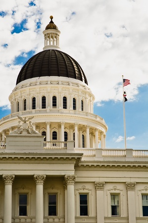 the capitol: california capitol building in sacramento, Done and California State Flag Stock Photo