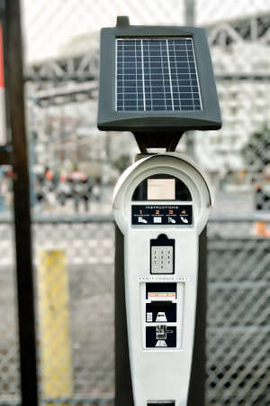 pay for: Pay for parking here machine powered by solar energy